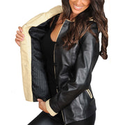 Womens Real Leather Blazer Jacket Mid Length Hooded Coat Eva Black Lining