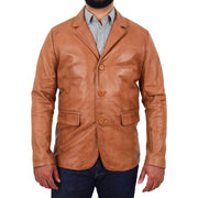 Mens Leather Blazer Real Lambskin Jacket Dinner Suit Style Coat Dean Cognac Front 1