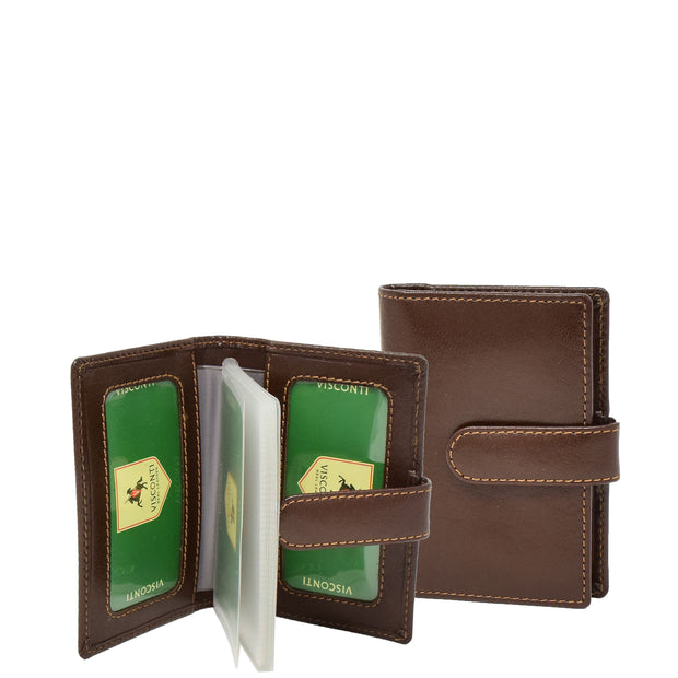 Real Leather Compact Credit Card Wallet AV84 Brown Feature