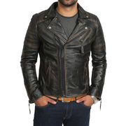 Mens Real Leather Biker Jacket Vintage Black Rub Off Slim Fit Coat Max Front 1
