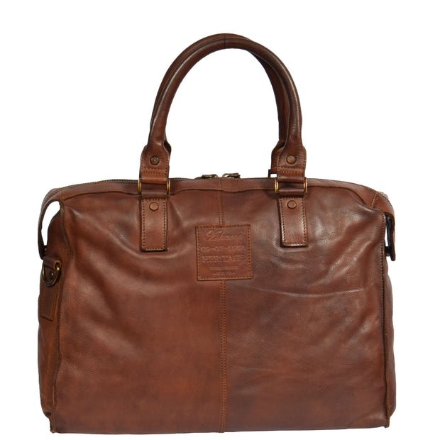Real Leather Holdall Weekend Cabin Bag Bali Rust Back