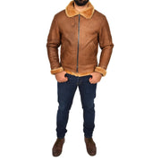 Authentic Aviator Coat Real Sheepskin Vintage Tan Bomber Jacket Tornado Full