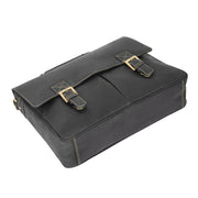 Mens REAL Leather Briefcase Vintage Look Satchel Shoulder Bag A167 Brown Back Letdown