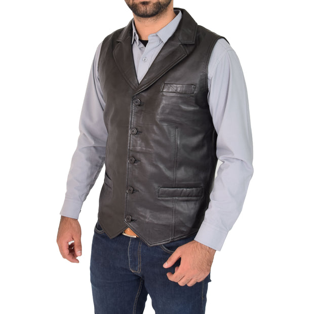 Mens Genuine Soft Leather Waistcoat Western Vest Yelek Rhys Black Front 2