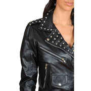 Ladies Studded Cropped Fitted Biker Leather Jacket Diane Black Feature