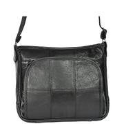 Womens Black Leather Multi Pocket Cross Body Shoulder Bag Elsie Back