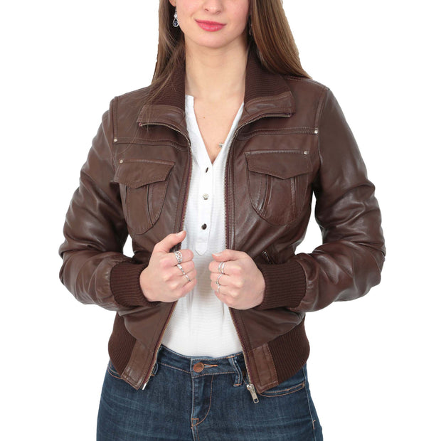 Womens Slim Fit Bomber Leather Jacket Cameron Brown Open