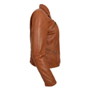 Ladies Soft Leather Jacket Fitted Collared Zip Fasten Biker Style Leah Tan Side