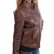 Womens Fitted Leather Biker Jacket Casual Zip Up Coat Jenny Brown Feature 2