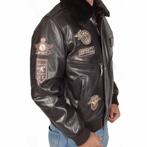 Mens Pilot Leather Jacket Air Force Badges Bomber Coat Luca Brown Feature 1