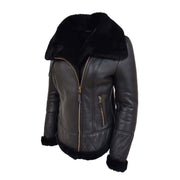 Super Luxurious Womens Real Sheepskin Jacket Aviator Coat Alexa Black Front 3