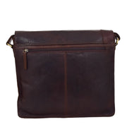 Mens Messenger Leather Bag Casual Office Students Man Bag Barney Brown Back