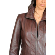 Womens Classic Fitted Biker Real Leather Jacket Nicole Brown Feature
