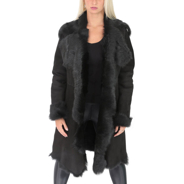 Womens Luxurious Toscana Long Coat Real Sheepskin Pamela Black Open