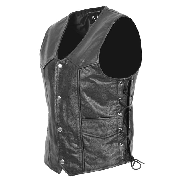 Mens Genuine Cowhide Black Leather Waistcoat Laced Sides Bikers Gilet Capone Front 3