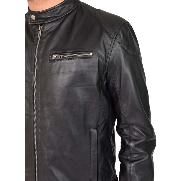 Mens Leather Jacket Biker Style Zip up Coat Bill Black Feature