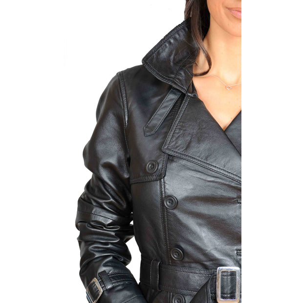 Womens Soft Leather Trench Coat Olivia Black feature
