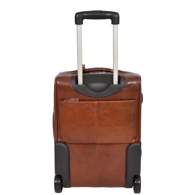 Exclusive Leather Trolley Hand Luggage Cabin Suitcase Concorde Chestnut Back