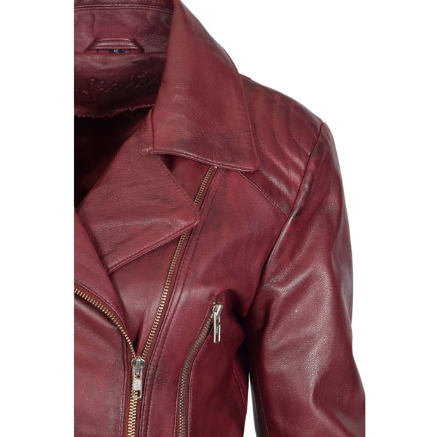 Womens Biker Leather Jacket Slim Fit Cut Hip Length Coat Coco Burgundy Feature 1