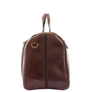 Genuine Leather Holdall Weekend Gym Business Travel Duffle Bag Ohio Brown Side