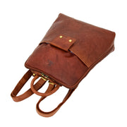 Womens Backpack Cognac LEATHER Rucksack Travel Organiser Evie Letdown