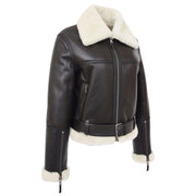 Womens Luxurious Brown Genuine Sheepskin Flying Jacket White Shearling Harriet Front 1