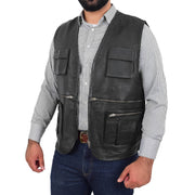 Mens Real Black Soft Leather Fisherman Waistcoat Multi Pockets Gilet Curt Open 3