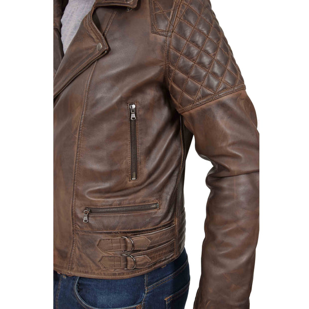 Mens Trendy Biker Leather Jacket Antique Quilted Designer Coat Jace Brown Feature