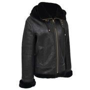 Womens Real Black Sheepskin Jacket Hooded Shearling B3 Pilot Coat Maria Front Angle 1