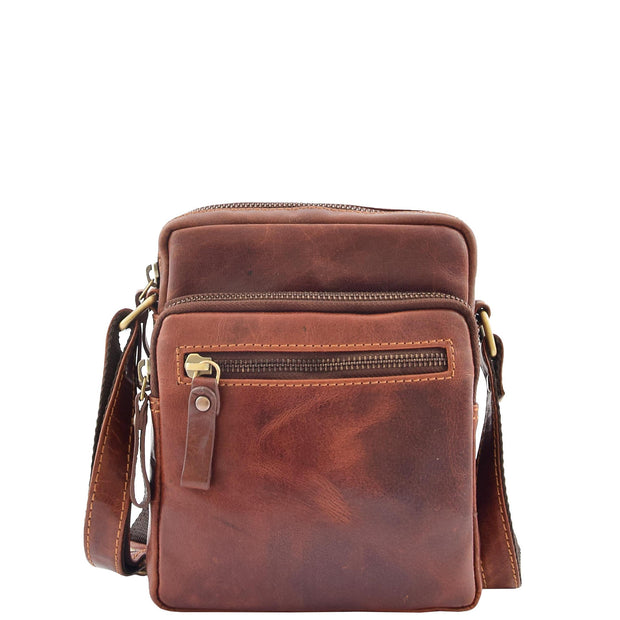 Mens Brown Leather Cross Body Flight Bag Multi Zip Pockets Pouch Cooper Front 1