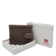 Mens Leather Bifold Wallet Cards Banknote Coins Case Snap Closure AV67 Brown Box