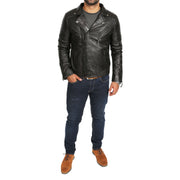 Mens Black Leather Biker Jacket X-Zip Fasten Trendy Designer Coat Max Full