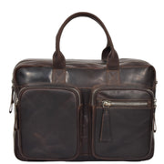 Pure Leather Briefcase Laptop Satchel Office Business Bag Otis Brown Front
