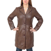 Womens 3/4 Button Fasten Leather Coat Cynthia Brown