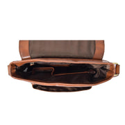 Mens Real Leather Cross body Messenger Bag A224 Chestnut Open