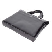 Italian Leather Black Briefcase Messenger Business Bag Denver Back Letdown