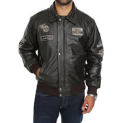 Mens Pilot Bomber Leather Jacket Spitfire Brown without collar view