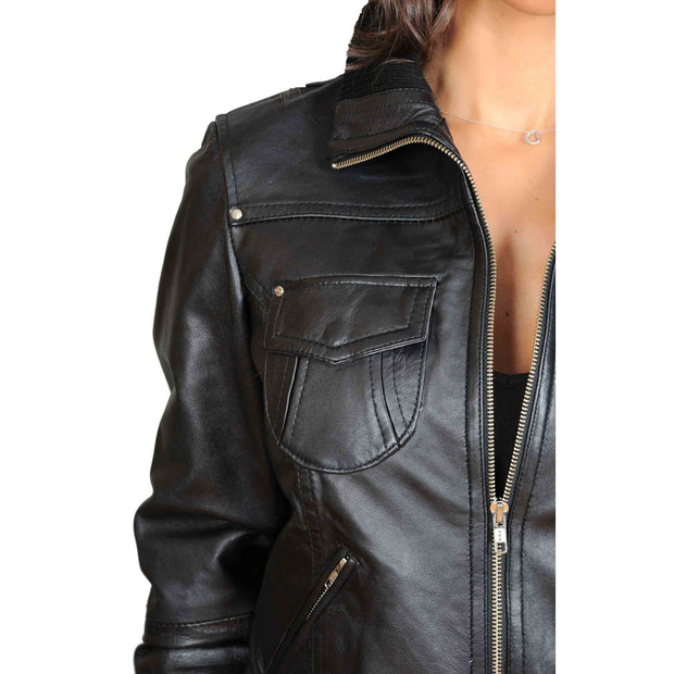 Womens Slim Fit Bomber Leather Jacket Cameron Black feature 1