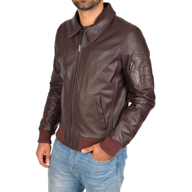 Mens Real Cowhide Bomber Leather Pilot Jacket Lance Burgundy Front 2