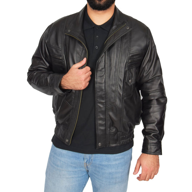 Mens Classic Bomber Soft Leather Jacket Alan Black main view