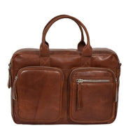 Pure Leather Briefcase Laptop Satchel Office Business Bag Otis Cognac Front