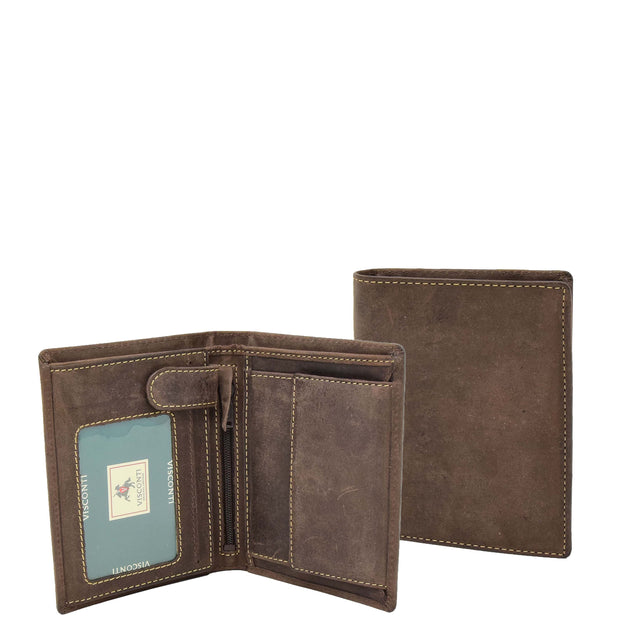 Mens Distressed Leather Wallet ID Coins Cards Notes Holder AV09 Brown