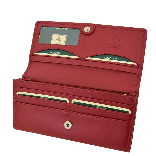 Womens Soft Leather Clutch Purse Envelope Style Wallet AVT3 Red Open 1