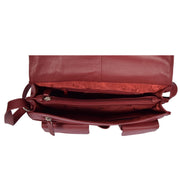 Womens RED Leather Shoulder Bag Classic Casual Cross Body Satchel A54 Top Open