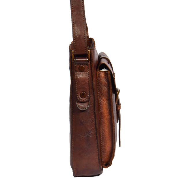 Real Leather Unisex Shoulder Flight Bag Trump Rust Side