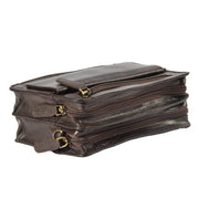 Real Leather Wrist Bag Clutch Travel Organiser Brown A210 Frot Top