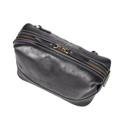 Vintage Leather Black Toiletry Shaving Kit Cosmetic Travel Wash Bag Austin Top