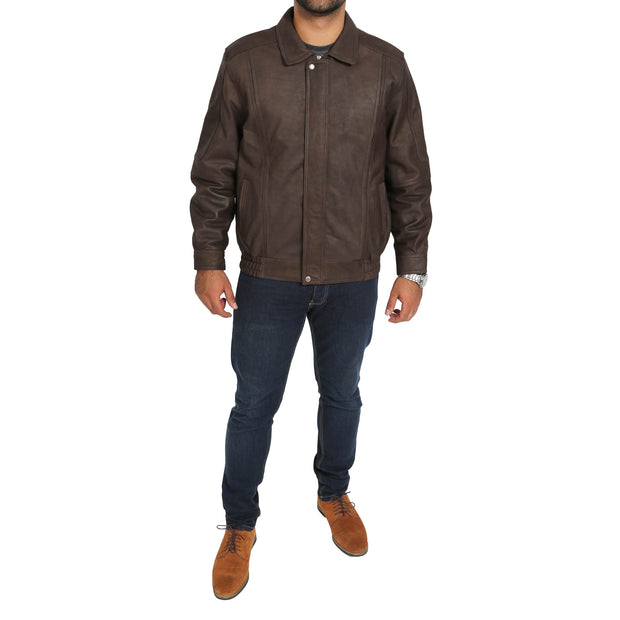 Gents Blouson Brown Leather Jacket Keith Nubuck full view
