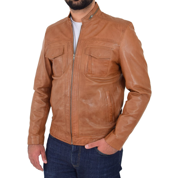 Mens Biker Leather Jacket Cognac Soft Nappa Fitted Standing Collar Tats Front 2