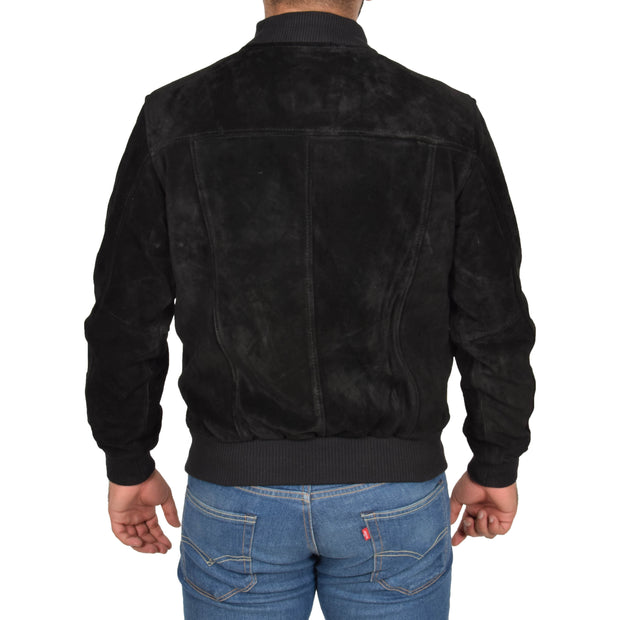 Mens Genuine Suede Bomber Jacket Roco Black back view